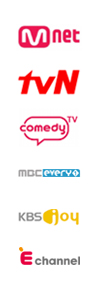 Mnet, TVN, comedy TV, MBC every1, KBS joy, E channel